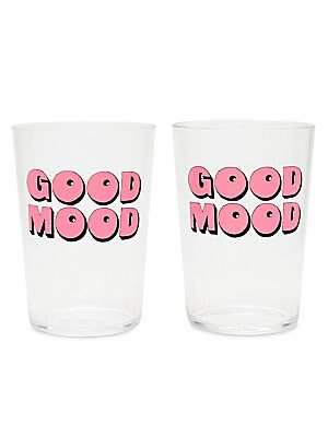 """Image of These fun cocktail tumblers are made for celebrating. Clear acrylic with front printed design. Set of two 15 oz. 4.75""""H x 3.5""""W Acrylic Hand wash Imported. Gifts - Books And Music > Saks Fifth Avenue. ban. do. Color: Good Mood."""