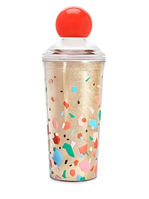 """Image of Be the top of the best guest list when you give this hostess gift at the next party. Holds 20 oz. and has a pretty red top, the cutest smiley face strainer, and tons and tons of loose rainbow confetti glitter. 20 oz. 49.75""""H x 3.5""""W Acrylic Hand wash Impo"""