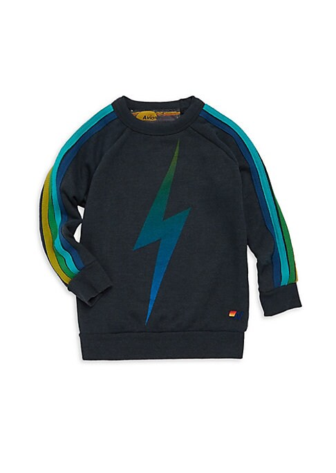 Image of Cotton-blend graphic sweatshirt with sporty side stripes and raglan sleeves. Crewneck. Long sleeves. Pullover style. Banded trim. Side stripes. Cotton/polyester/rayon. Machine wash. Made in USA.
