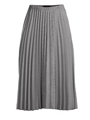 Houndstooth Pleated A-Line Skirt in Black Combo from DKNY