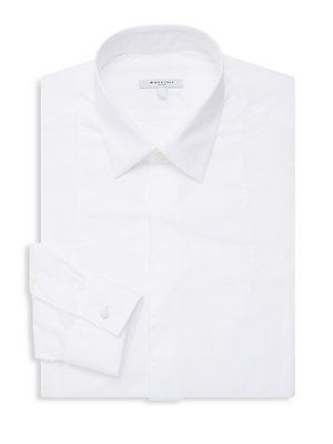 "Image of Chic cotton button-down dress shirt with sophisticated French cuffs. Point collar Long sleeves Button front Button cuffs Cotton Machine wash Made in Italy SIZE & FIT About 29"" from shoulder to hem. Men Luxury Coll - Formal Wear. Boglioli. Color: White. Si"