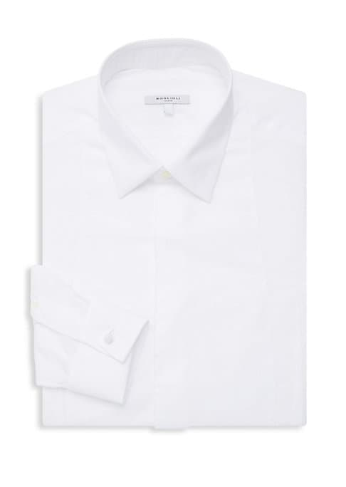 """Image of Chic cotton button-down dress shirt with sophisticated French cuffs. Point collar. Long sleeves. Button front. Button cuffs. Cotton. Machine wash. Made in Italy. SIZE & FIT. About 29"""" from shoulder to hem."""