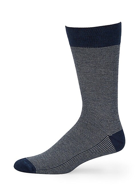Image of EXCLUSIVELY OURS. Micro-knit socks are eclectic accessories. Rib-knit opening. Cotton/coolmax/nylon/lycra. Machine wash. Made in Italy.