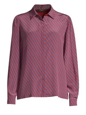 WEEKEND MAX MARA Silk Contrast-Back Button-Down Shirt in Ruby