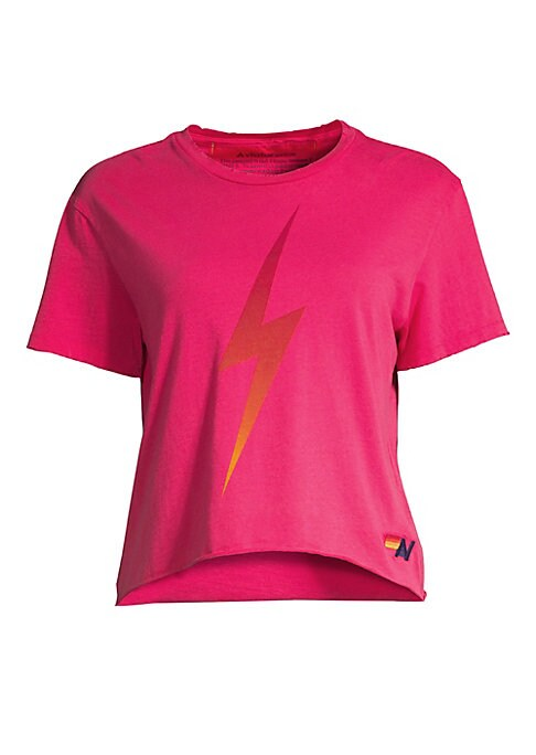 """Image of A metallic lightning bolt adds energy to this cropped cotton-blend tee. Crewneck. Short sleeves. Pullover style. Curved hem. Cotton/polyester. Machine wash. Made in USA. SIZE & FIT. About 18"""" from shoulder to hem. Model shown is 5'10"""" (177cm) wearing US s"""