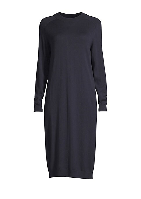"""Image of Cocoon-shaped midi dress knit from a luxuriously warm blend of silk and wool. Crewneck. Long sleeves. Ribbed cuffs and hems. Pullover style. Silk/wool. Hand wash. Imported of Italian fabric. SIZE & FIT. About 44"""" from shoulder to hem. Model shown is 5'10"""""""