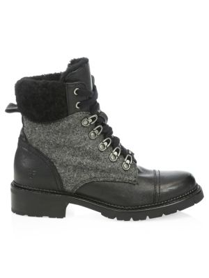1257c11c7e5 Samantha Leather & Shearling Hiker Boots