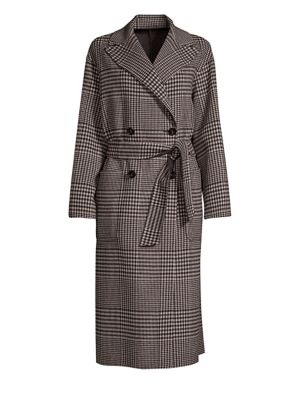 Faro Plaid Double-Breasted Coat, Coffee