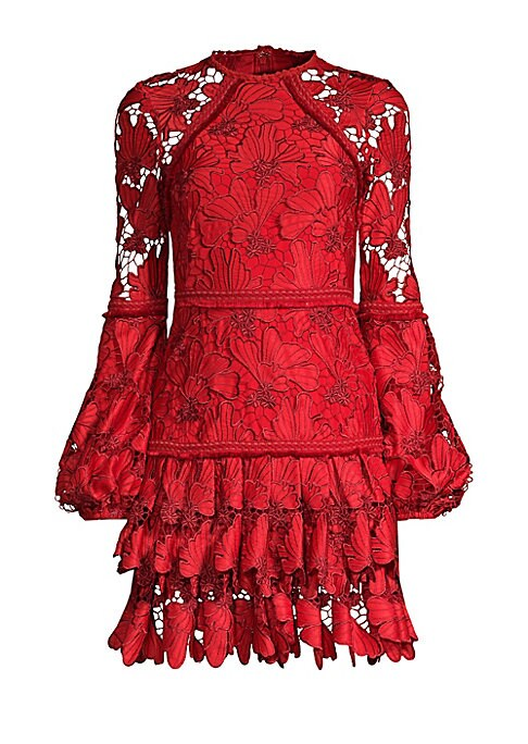 """Image of An oh-so-pretty lace frock enhanced with textured trim and a gently pleated skirt. Roundneck. Blouson sleeves. Concealed back zip and hook-and-eye closure. Lace hems. Lined. Polyester/elastane. Dry clean. Imported. SIZE & FIT. About 35"""" from shoulder to h"""
