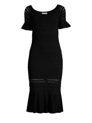 Sheira Off-The-Shoulder Midi Dress, Black