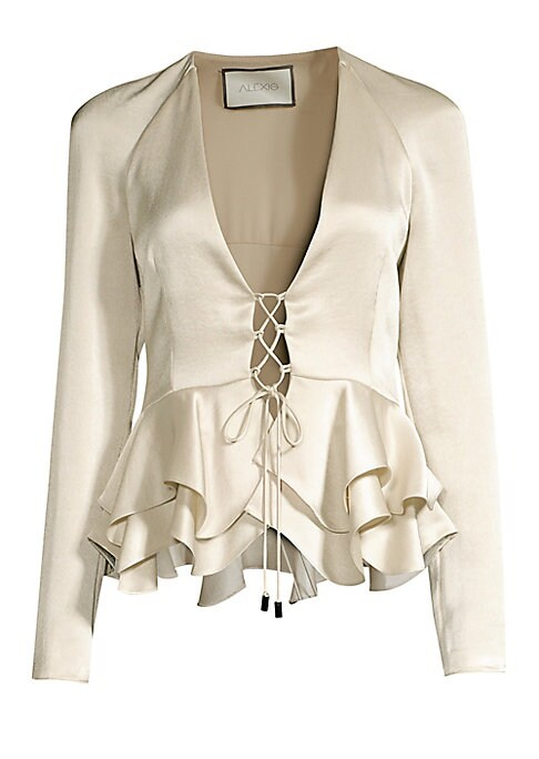 """Image of A lace-up front makes for a highly alluring neckline on this satin blouse featuring a ruffle peplum.V-neck. Long raglan sleeves. Lace-up front. Ruffle hems. Polyester. Dry clean. Imported. SIZE & FIT. About 24"""" from shoulder to hem. Model shown is 5'10"""" ("""