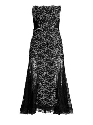 Ornella Strapless Lace Midi Dress in Corded Leaf Lace