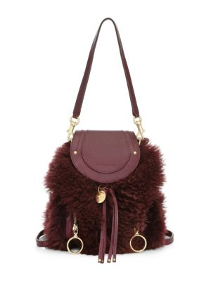 Mini Olga Shearling & Leather Backpack by See By Chloé