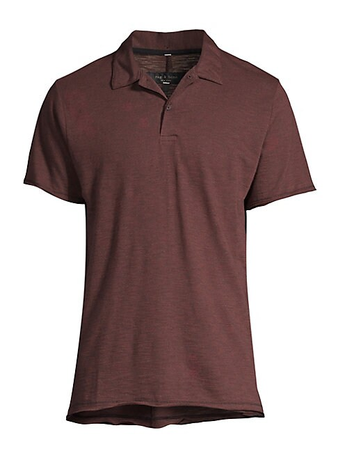 "Image of Breathable polo with overdyed microstripes. Polo collar. Short sleeves. Two-button placket. Grosgrain loop at nape. Linen/cotton. Dry clean. Imported. SIZE & FIT. About 28"" from shoulder to hem."