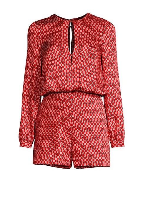Image of A mesmerizing geometric print enhances this long sleeved romper with a silky finish. Roundneck. Long sleeves. Buttoned cuffs. Front keyhole and hook-and-eye closure. Back keyhole button closure. Polyester/silk. Dry clean. Imported. SIZE & FIT. Rise, about