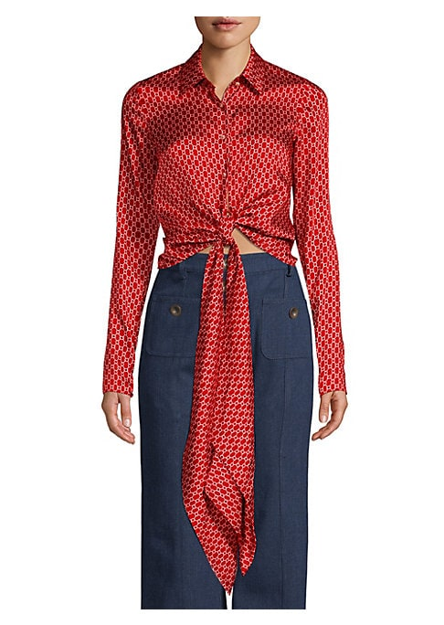 """Image of Boasting an allover geometric print, this silky blouse is enhanced with scarf-like ties at the waist. Point collar. Long sleeves. Button front with self-tie at waist. Polyester. Dry clean. Imported. SIZE & FIT. About 21"""" from shoulder to hem. Model shown"""
