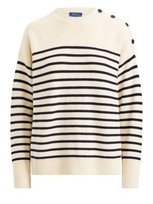 Button-Shoulder Wool Sweater, Chic Cream