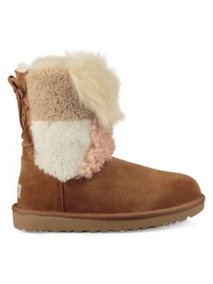 fb1f8a62210 Women's Classic Short Patchwork Fluff Shearling Boots