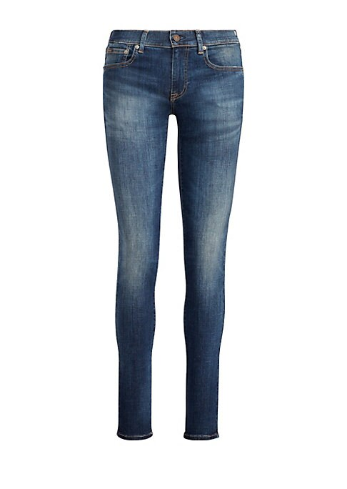"""Image of Polo Ralph Lauren's stretch-infused right-hand-twill skinny jean is designed to contour the body from the fitted thigh to the narrow leg opening. Belt loops. Zip fly with a signature shank closure. Five-pocket style.""""Polo"""" patch at the coin pocket. Signat"""