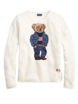 Denim Bear Sweater, Chic Cream