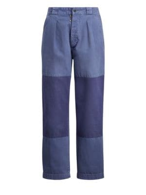 Patched Straight Leg Pants, Navy