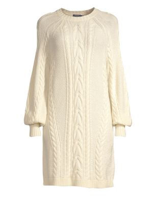 Aran Cable-Knit Wool Shift Sweater Dress, Chic Cream