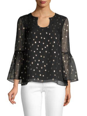 LILLY PULITZER Amory Metallic Polka Dot Top in Onyx