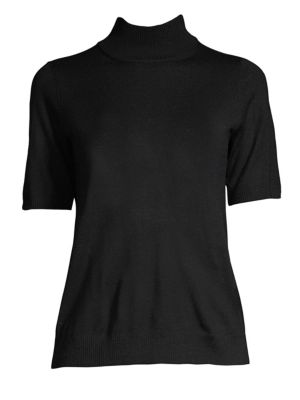 Mock-Neck Elbow-Sleeve Merino Wool Sweater, Petite in Black
