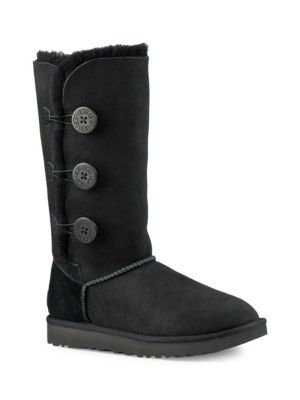 UGG® Bailey Button Triplet Sheepskin Mid Calf Boots in Black Suede