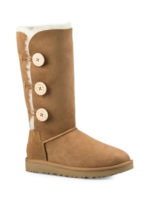 UGG Bailey Button Triplet Sheepskin Mid Calf Boots in Chestnut Suede