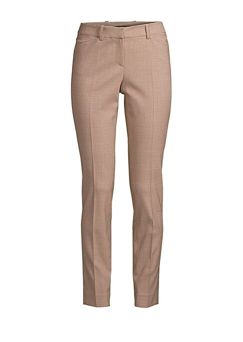 "Image of Tailored skinny pant with built in stretch for a comfortable fit. Button waist closure. Zip fly. Side seam pockets. polyester/virgin wool/lycra/elastane. Dry clean. Made in Italy. SIZE AND FIT. About 29"" from shoulder to hem. Model shown is 5'10"" (177cm)"