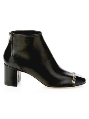 Atri Cap Toe Block Heel Booties by Salvatore Ferragamo
