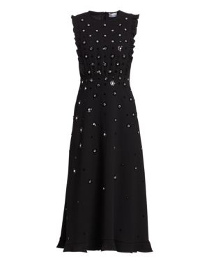 Redvalentino - Sequin And Crystal Flower Crepe Dress - Womens - Black