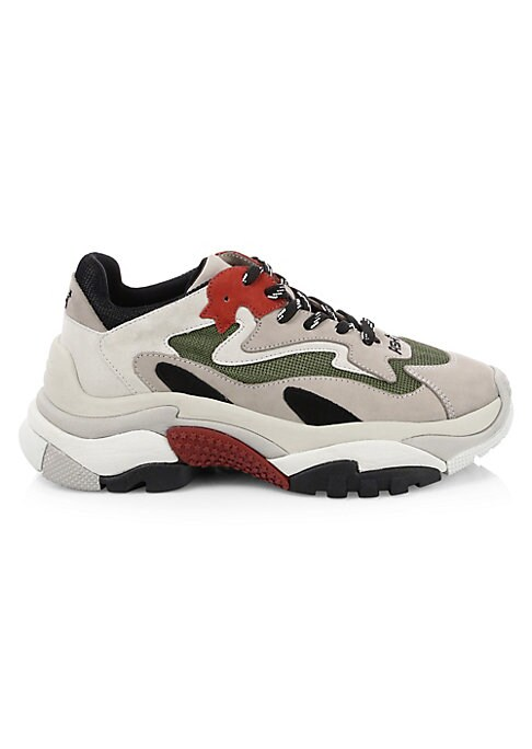Image of From the Saks IT LIST. THE CHUNKY SNEAKER. Get your kicks in the sole that stormed the runways. Mix media sneakers with colorblock accents. Mesh and leather upper. Round toe. Lace-up vamp. Textile lining. Rubber sole. Imported.