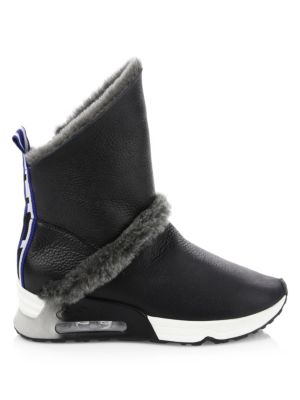 Laika Leather & Shearling Boots, Black