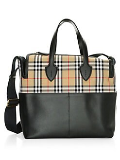 Burberry Kingswood Check Leather Diaper Bag