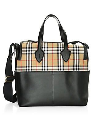 cbd8da5a23e6 Burberry - Kingswood Check   Leather Diaper Bag - saks.com