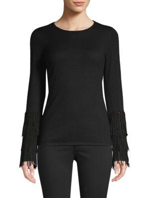 TSE X SFA Fringe-Cuffed Cashmere Sweater in Black