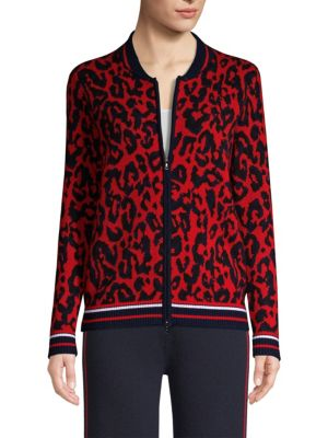 TSE X SFA Leopard Print Cashmere Bomber in Navy-Red