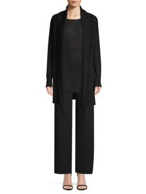 TSE X SFA Suede Fringe Cashmere Cardigan in Black