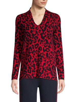 TSE X SFA Animal Print V-Neck Sweater in Navy-Red