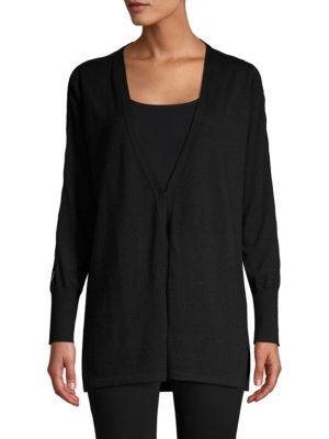TSE X SFA Lace-Trimmed Open Front Cardigan in Black