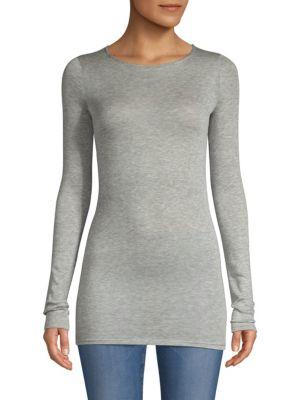 TSE X SFA Long-Sleeve Stretch Cashmere-Blend Top in Grey Melange