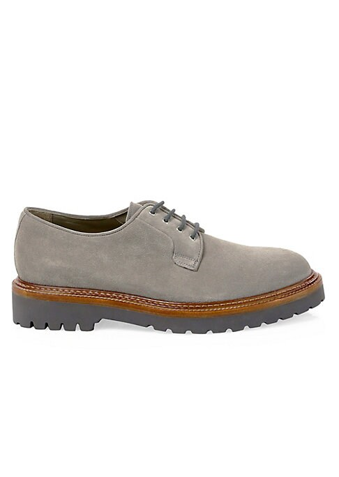 Image of Versatile derby shoe that can be dressed up or down. Suede upper. Leather lining. Rubber sole. Made in Italy.