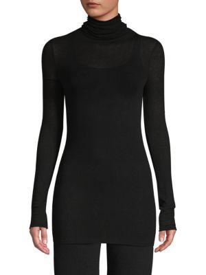 TSE X SFA Longline Turtleneck Sweater in Black
