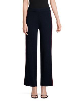 TSE X SFA Side Stripe Knit Cashmere Pants in Navy Red