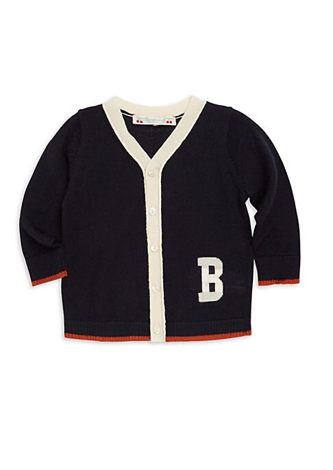 Image of Adorable button front cardigan with collegiate flair.V-neck. Long sleeves. Button front. Contrast tipping.B letter. Wool. Machine wash. Imported.