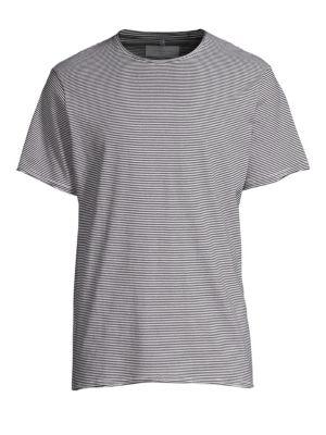 OVADIA & SONS Raw Edge Stripe T-Shirt in Black/White Stripe