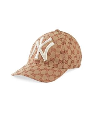 GUCCI Men'S Logo-Print Baseball Cap With New York Yankees Applique in Brown