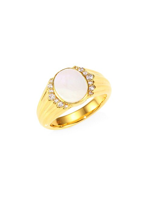 Image of 18K goldplated signet ring with mother-of-pearl and white sapphire center. From the Luna Collection. White sapphie. Mother-of-pearl.18K goldplated sterling silver. Latch back. Imported.